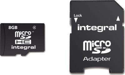 Integral Micro SDHC (Con Adattatore) (Class 4) 8GB Scheda (Class 4)