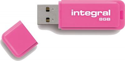 Integral Neon USB Drive 8GB Drive (Pink)