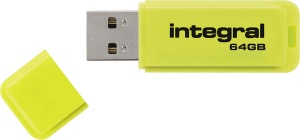 Integral Neon USB Drive 64GB Drive (Yellow)