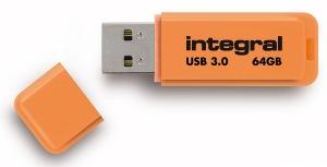 Integral Neon USB 3.0 Flash Drive 64GB Drive (Orange)