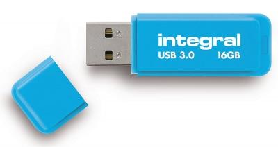 Integral Neon USB 3.0 Flash Drive 16GB Drive (Blue)
