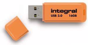Integral Neon USB 3.0 Flash Drive 16GB Drive (Orange)