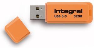 Integral Neon USB 3.0 Flash Drive 32GB Drive (Orange)